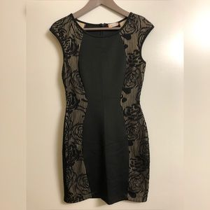 Black Lace Ponte Bodycon Dress